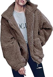 Abravo Mujer Abrigo Otoño Invierno Cardigans Polar Lana de imitación Outwear Jacket Pullover Casual Manga Larga Suelta Cre...