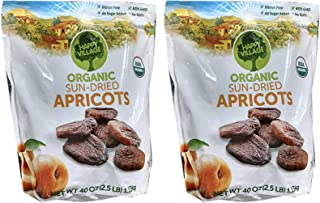 Happy Village Certified USDA Organic and Unsulphured Apricots, 80 oz , 2 bags of 40 oz Certified Kosher by Star K