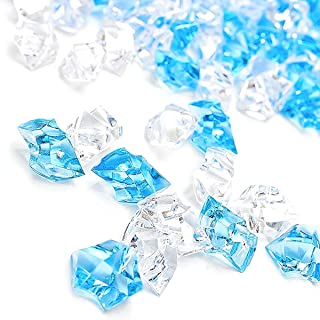 Premium Blue Fake Crushed Ice Rocks, 150 PCS Fake Diamonds Plastic Ice Cubes Acrylic Clear Ice Rock Diamond Crystals Fake Ice Cubes Gems for Decoration Wedding Display Vase Fillers by DomeStar