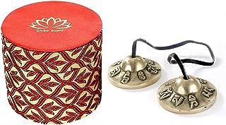Tibetan Bell Chimes Buddhist Lucky om mani padam Embossed Cymbals with Box Medium 6.2cm Approx.