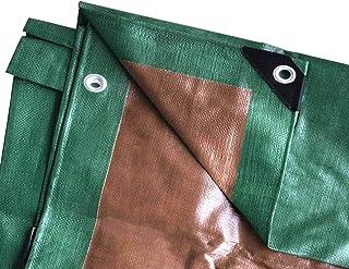 Moose Supply 16 Foot x 20 Foot Heavy Duty Waterproof Tarp   Green and Brown   Multi-Purpose UV Resistant Reversible Tarpau...