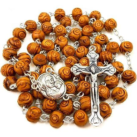 Nazareth Store - Collar de rosario con cuentas de madera de olivo talladas para la oración católica y cruz de metal