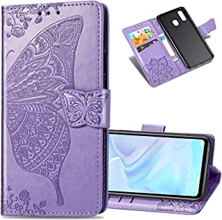 LEECOCO Samsung A20 Case Premium PU Leather Flip Wallet Case Butterfly Embossed Full Body Protection Flip Stand Card Holder Magnetic Cover for Samsung Galaxy A20 / A30 Big Butterfly Light Purple SD