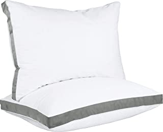 Utopia Bedding Gusseted Pillow (2-Pack) Premium Quality Bed Pillows - Side Back Sleepers - Grey Gusset - Queen - 18 x 26 I...