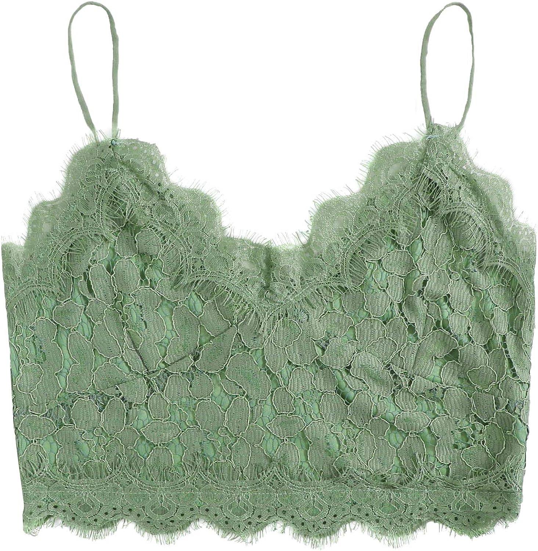 SheIn Women's Lace Crochet Spaghetti Strap Zip Up Cami Crop Top Camisole