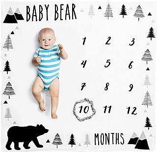 Organic Baby Monthly Milestone Blanket - Baby Boy Milestone Blanket with Month Marker - Baby Bear Months Blanket, 1-12 Mon...