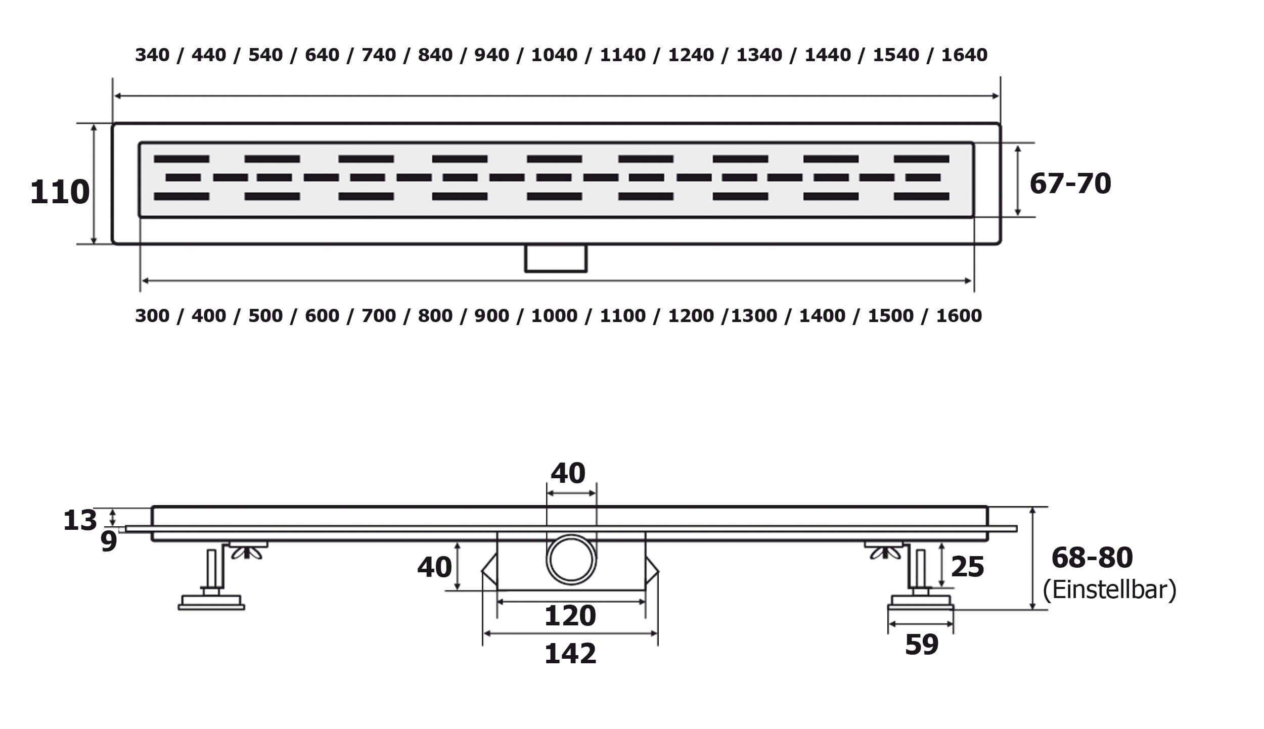Canaleta de ducha con sifón VILSTEIN, canal de desagüe para el suelo, 30 cm, Plateado, VS-DB01-40B: Amazon.es: Bricolaje y herramientas