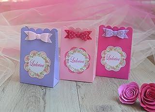 15 Scatoline Confetti Personalizzabili Con Nome Personalizzato Per Battesimo Nascita Compleanno Comunione Bambina Rosa Bom...