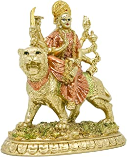 Hindu-Goddess Small Durga Statue - Indian Eastern Enlightenment Durga on Tiger Figurines Decoration - Hinduism Goddess Hom...