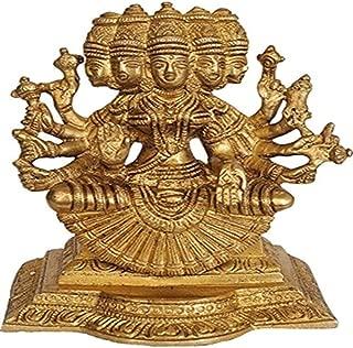 Purpledip Brass Idol Gayatri MATA Savitri Hindu Goddess Mother of Vedas Beautiful Rare Statue (10842)