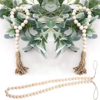 Aglife Natural Wood Bead Garland Set with Tassels, 3 pcs Farmhouse Beads Prayer Beads Wall Hanging Decor