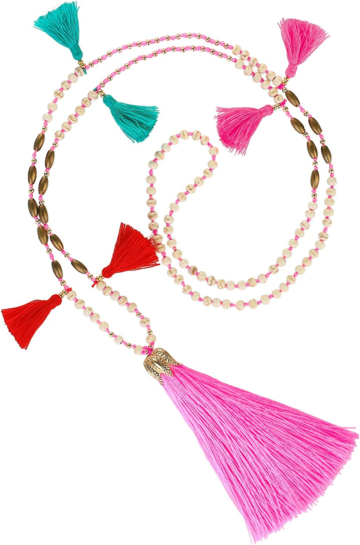 KELITCH Beaded Necklace Bib Chain Multicolor Tassel Long Strand Beach Friendship Necklace