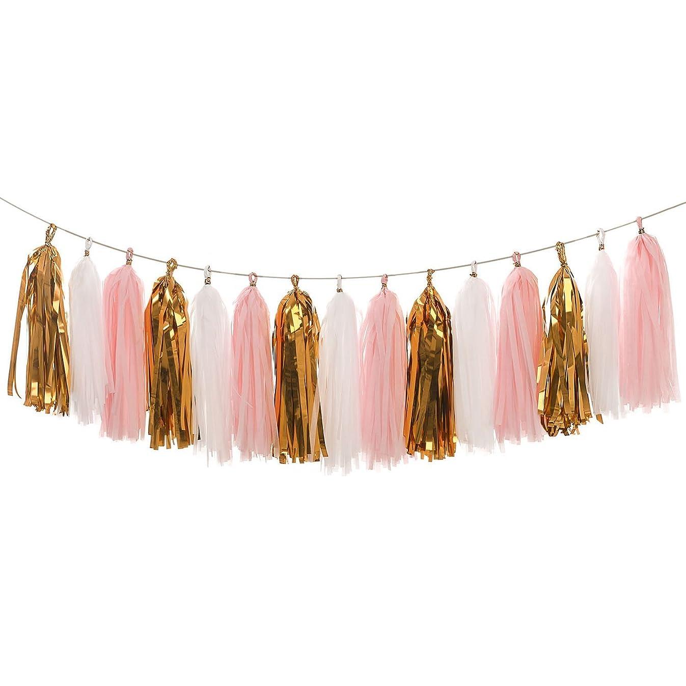 Derhom Tissue Paper Tassel Garland - 20pcs Tassels Per Package - 12 Inch Long Tassels (Gold/Pink)