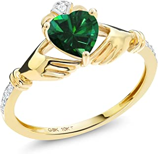 10K Yellow Gold Irish Celtic Claddagh Green Simulated Emerald Diamond Accent Ring 0.74 Ctw (Available 5,6,7,8,9)