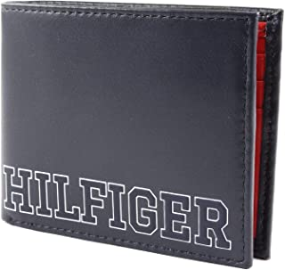 Tommy Hilfiger Men's Varsity Small Bi-Fold Leather Wallet, Tommy Navy, One