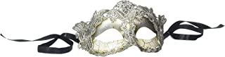 Pure Seasons 4everStore Macrame Lace & Rhinestones Masquerade Mask (Silver)