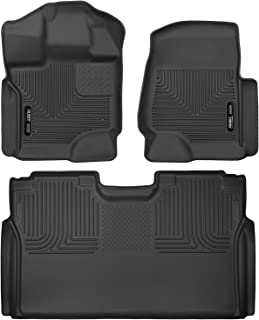 Husky Liners 53341 53491 Black Front Floor Liners and Full Coverage 2nd Seat Floor Liner for 15-19 Ford F-150