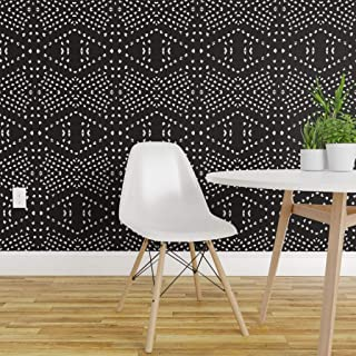 Spoonflower Peel and Stick Removable Wallpaper, Dotty Native Mark Making Textured Tribal Diamond Bohemian Line Dot Geometric Drawn Shapes Print, Self-Adhesive Wallpaper 12in x 24in Test Swatch