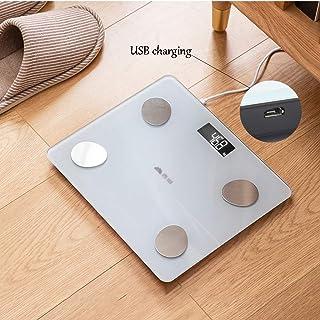 Básculas Peso medidor de impedancia Inteligente del Consumo eléctrico del Cuerpo Escala de Grasa Bluetooth USB inalámbrico Digital Recargable Baño Cuerpo Índice de Pila AAA