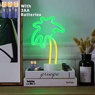 HONGM Coconut Palm Tree Neon Signs LED Neon Light Sign with Holder Base Battery Powered/USB for Party Supplies Table Decoration Seasonal Home Decor Children Kid Gift