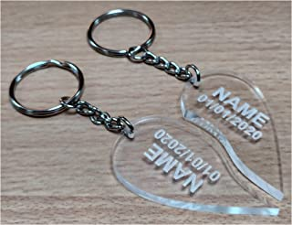 Personalized Couple Heart Shaped Keychain Set in Acrylic -Design your own