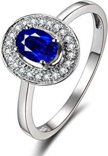 18K Gold Ring Engagement Ring Oval Shape Women Shine with Blue Sapphire
