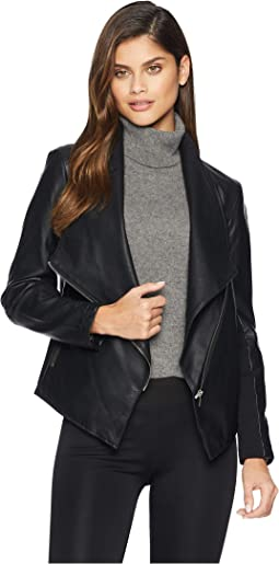 Gabrielle Asymmetrical Vegan Leather Jacket