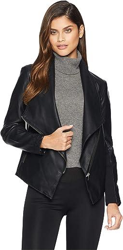 Gabrielle Asymmetrical Vegan Leather Jacket