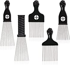 Noverlife 5 Pack Afro Hair Pick Combs, Stainless Steel Wide Teeth Metal African American Styling Pick, Hair Locks Detangling Brush for Natural Curly Wavy Perm Hair, Reduce Frizz & Damage