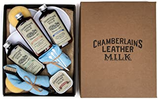 Leather Milk Leather Restoration Kit - Heal & Restore Antique Leather. Cleaner, Conditioner, Water Protectant, Healing Balm, Detailing Brushes, Pads, More! All-Natural. Made in USA