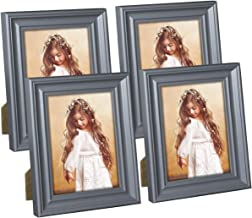 Hap Tim 4x6 Picture Frame Gray Wooden Photo Frames for Tabletop Display and Wall Decoration, Set of 4 (CWH-4x6-BG)