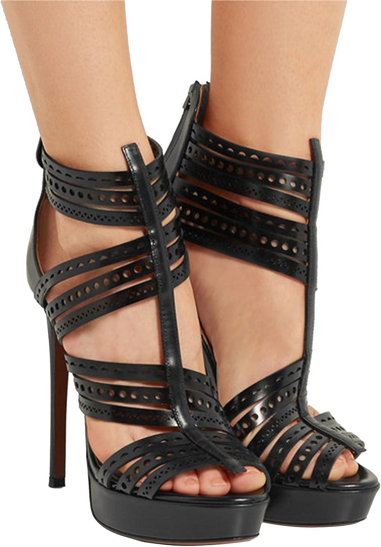 Kevin Fashion KLSDN214 Women's Platform PU Leather Club Party Evening Sandals