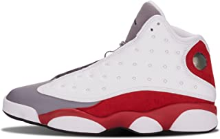 Nike Mens Air Jordan 13 Retro Grey Toe White/Black/Cement Grey-True Red Leather Basketball Shoes Size 9.5