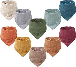 Muslin Baby Bibs 10 Pack Baby Bandana Drool Bibs 100% Organic Cotton for Unisex Boys Girls, 10 Solid Colors Set for Teethi...
