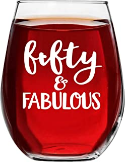 50 and Fabulous Wine Glass Turning 5oth Birthday Gifts for Women fifty year old Novelty Idea With Prime by Mugish 17oz