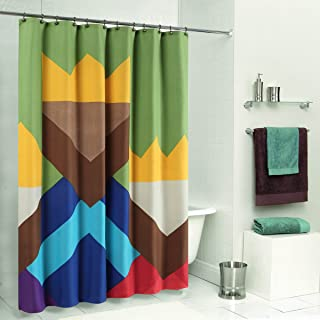DS CURTAIN Color Blocking Monogram Shower Curtain,Waterproof Duck Polyester Fabric Shower Curtain,Shower Curtain,Print Bathroom Curtain,62