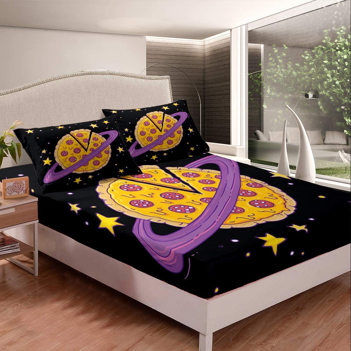 Sheet Set Full Size Popular products 3D Abstract Pentagra Sky Max 85% OFF Planet Pizza Starry