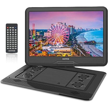WONNIE ポータブルdvdプレーヤー 17.9型 270度回転 16インチ 液晶画面 リージョンフリ 5時間再生 3電源対応 USBに対応 AV出入力 車載携帯式DVD 説明書付き ブラック