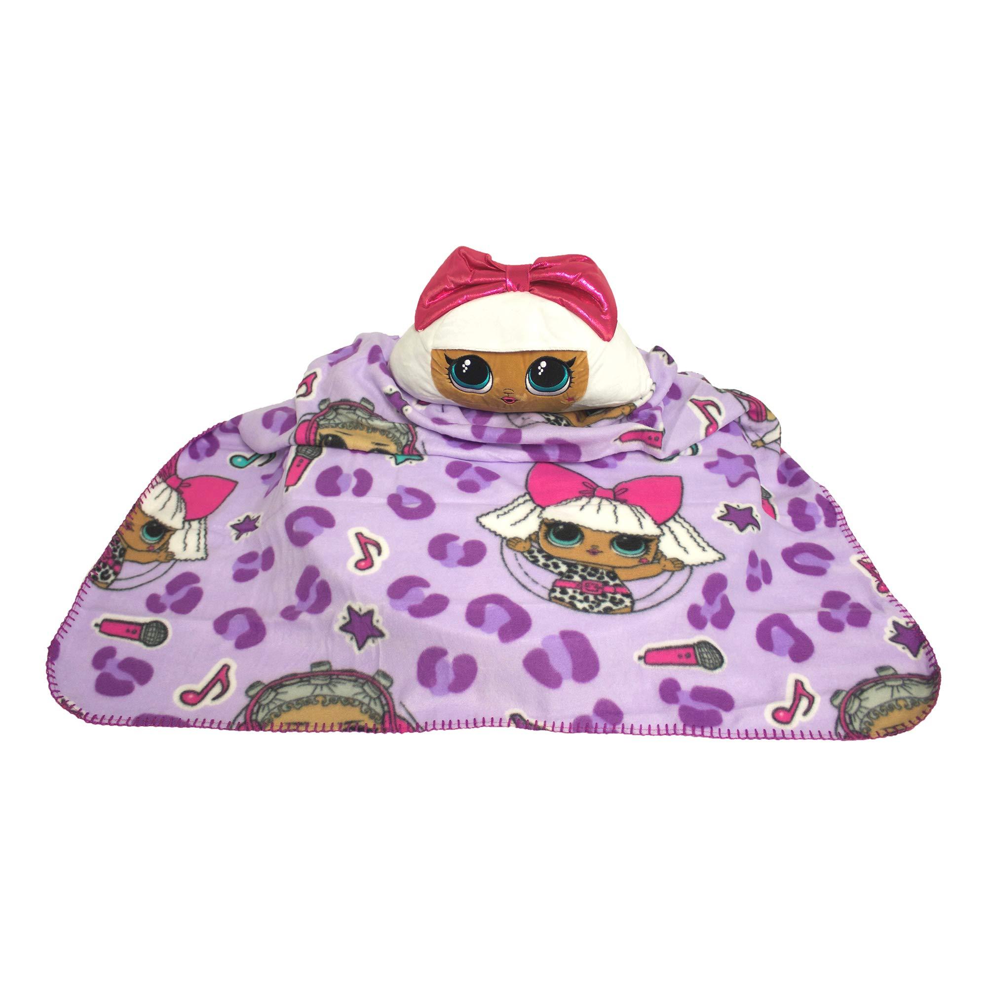 L.O.L. 서프라이즈 '디바' 담요, 배개 세트 L.O.L. Surprise Throw Blanket and Pillow Doll Surprise Diva Kids Hugger Plush Gift Set