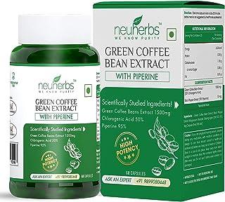 Zeeke Neuherbs Green Coffee Beans Extract (Fat Burner for Mens & Women) 1500 Mg - 50% Chlorogenic Acid & High Potency Form...