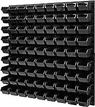 Wandrek stapelboxen - 772 x 780 mm - 81 stuks boxen werkplaats opslagsysteem lade plank (zwart)