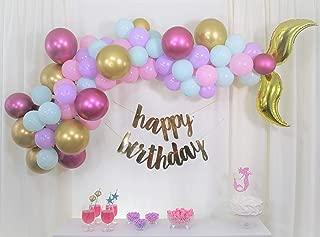 Mermaid Party Supplies,Mermaid Tail Balloon Arch Kit,Gold Happy Birthday Banner,Mermaid Cake Topper,DIY Tool Kit,Mermaid Themed,Under The Sea Party Decorations,Happy Birthday Decorations for Girls
