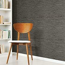 RoomMates - RMK11313WP Grasscloth Grey Peel and Stick Wallpaper,Dark Gray
