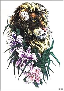 GS912 Tattoo 20 x 14 cm König Löwe Tier wilde Fancy Blumen
