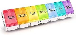 Wekelijkse pillenorganisator, BPA-vrije 7 dagen reizen pillendooshoes met grote compartimenten en een uniek lente-assisted...
