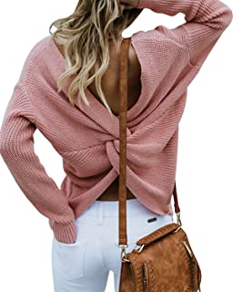 Women Casual Back Criss Cross V Neck Long Sleeve Loose Knitted Sweater Pullovers