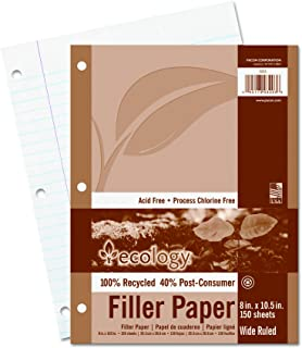 Ecology Recycled Filler Paper, Wide Ruled, White, 150 Sheets