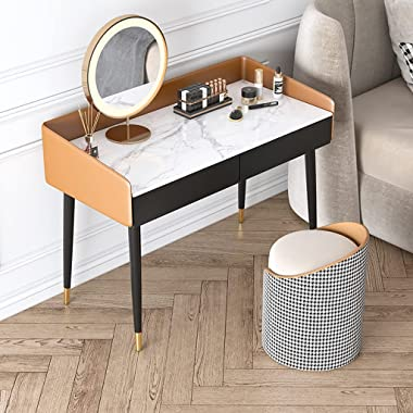 Round Dressing Stool Bedroom Dressing Table Chair Home Back Chair Light Luxury Makeup Stool Coffee Table Stool