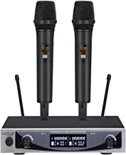 Wireless Microphone, VeGue UHF Dual Channel Professional Handheld Dynamic Microphone System for Karaoke, Party, Meeting, Outdoor Events, 200 feet Stable Signal Transmission