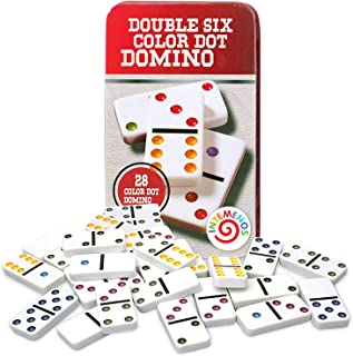 Dominoes Set 28 Double Six White Ivory Tiles - Classic Number Domino in Metal Case